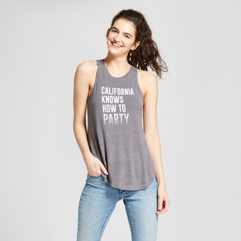 02e41b7eb Women's California Knows How to Party Graphic Tank Top - Lyric Culture  Charcoal