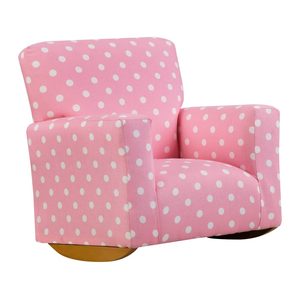 Image of Kids Upholstered Sallie Rocker Polka Dot Pink - Chapter 3