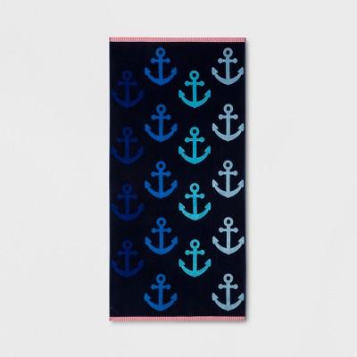 XL Anchor Beach Towel Navy - Sun Squad™