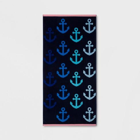 XL Anchor Beach Towel Navy - Sun Squad™ - image 1 of 1