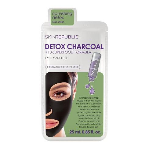 Skin Republic Detox Charcoal and 10 Superfood Formula Face Mask Sheet - 0.85 fl oz - image 1 of 4