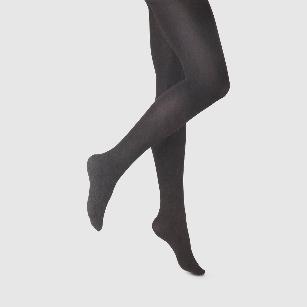 Women's 80D Control Top Super Opaque Tights - A New Day Black S/M