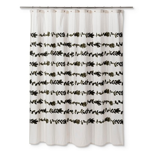 Floral Palm Tree Shower Curtain Cream