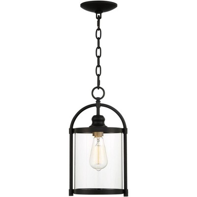 """John Timberland Modern Outdoor Hanging Light Fixture Black Warm Brass Metal 15"""" Clear Glass for Exterior House Porch Patio Outside"""