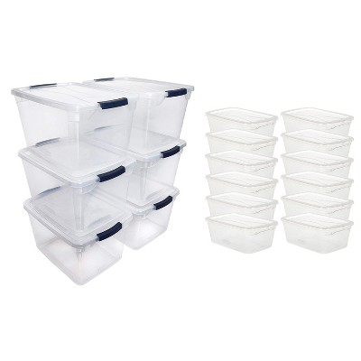 Rubbermaid Cleverstore Home Office Organization (6) 30 Qt & (12) 6 Qt Latching Stackable Plastic Storage Tote Container with Lid , Clear
