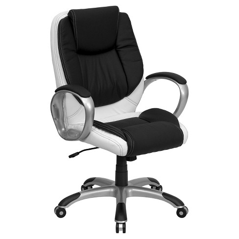 Executive Swivel Office Chair Black and White Leather - Flash Furniture - image 1 of 4