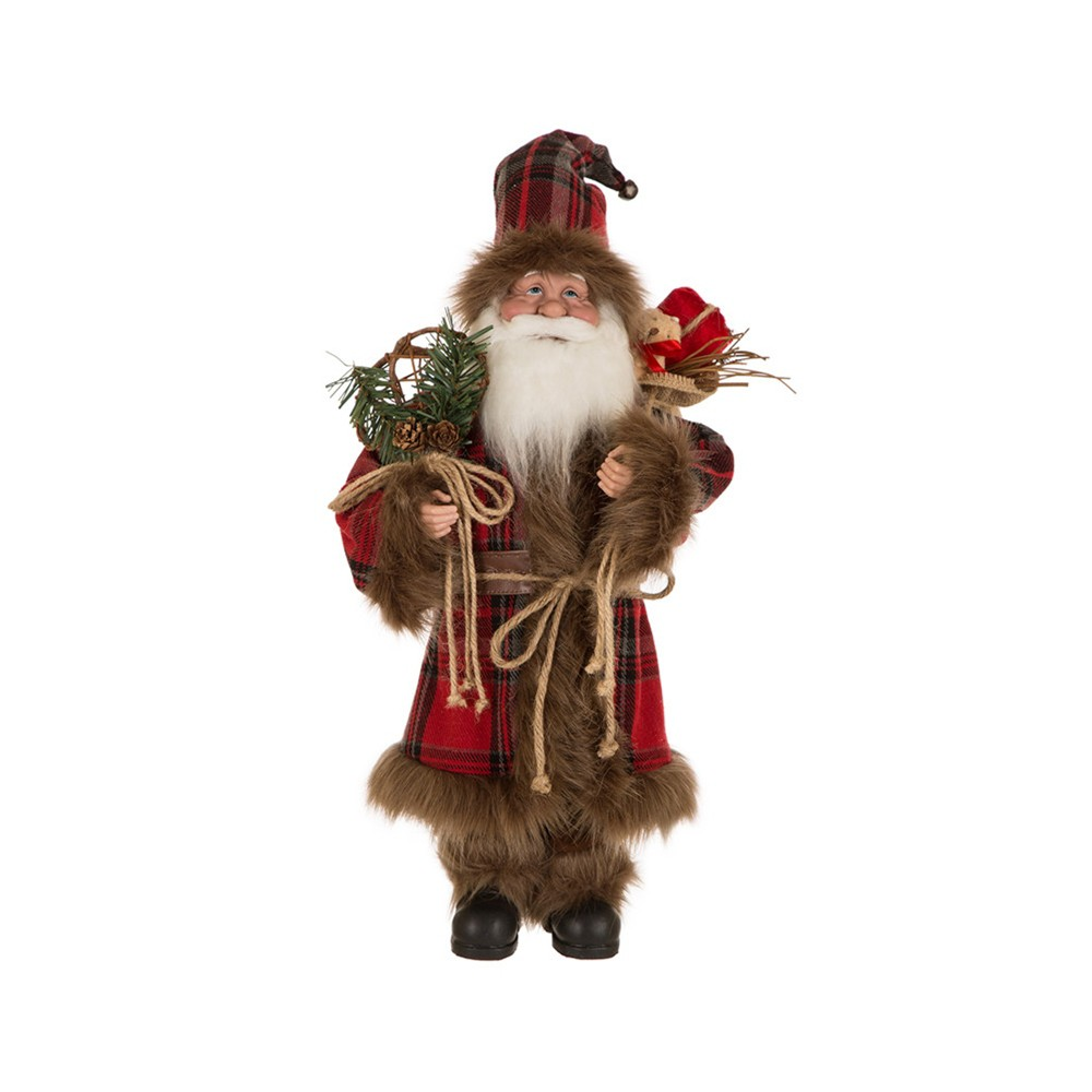 "Image of ""18"""" Plaid Santa Figurine - Glitzhome"""