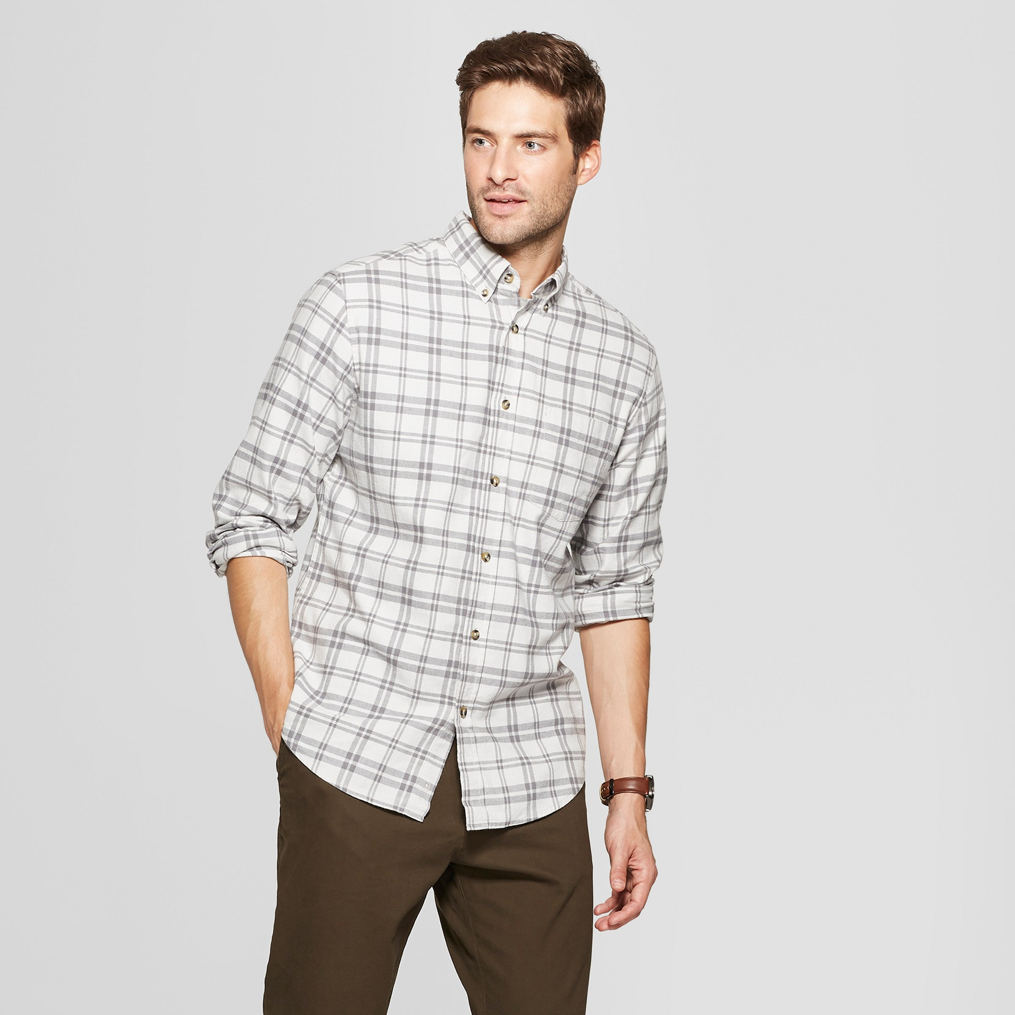 Men's Plaid Standard Fit Pocket Flannel Long Sleeve Collared Button-Down Shirt - Goodfellow & Co Agate Gray 2XL