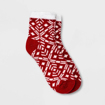 Women's Geo Double Lined Cozy Ankle Socks - A New Day™ 4-10