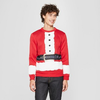 Men's Ugly Christmas Santa's Here Sweatshirt - Red