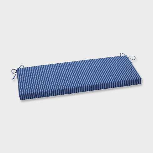 Resort Stripe Outdoor Bench Cushion Blue - Pillow Perfect - image 1 of 1