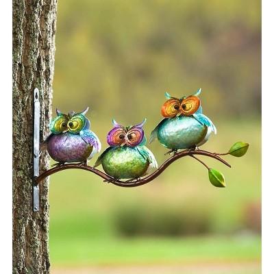 Plow & Hearth - Metal Owls On Branch Wall Art, Set of 3