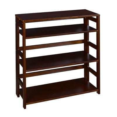 """34"""" Cakewalk High Folding Bookcase Mocha Walnut - Regency"""