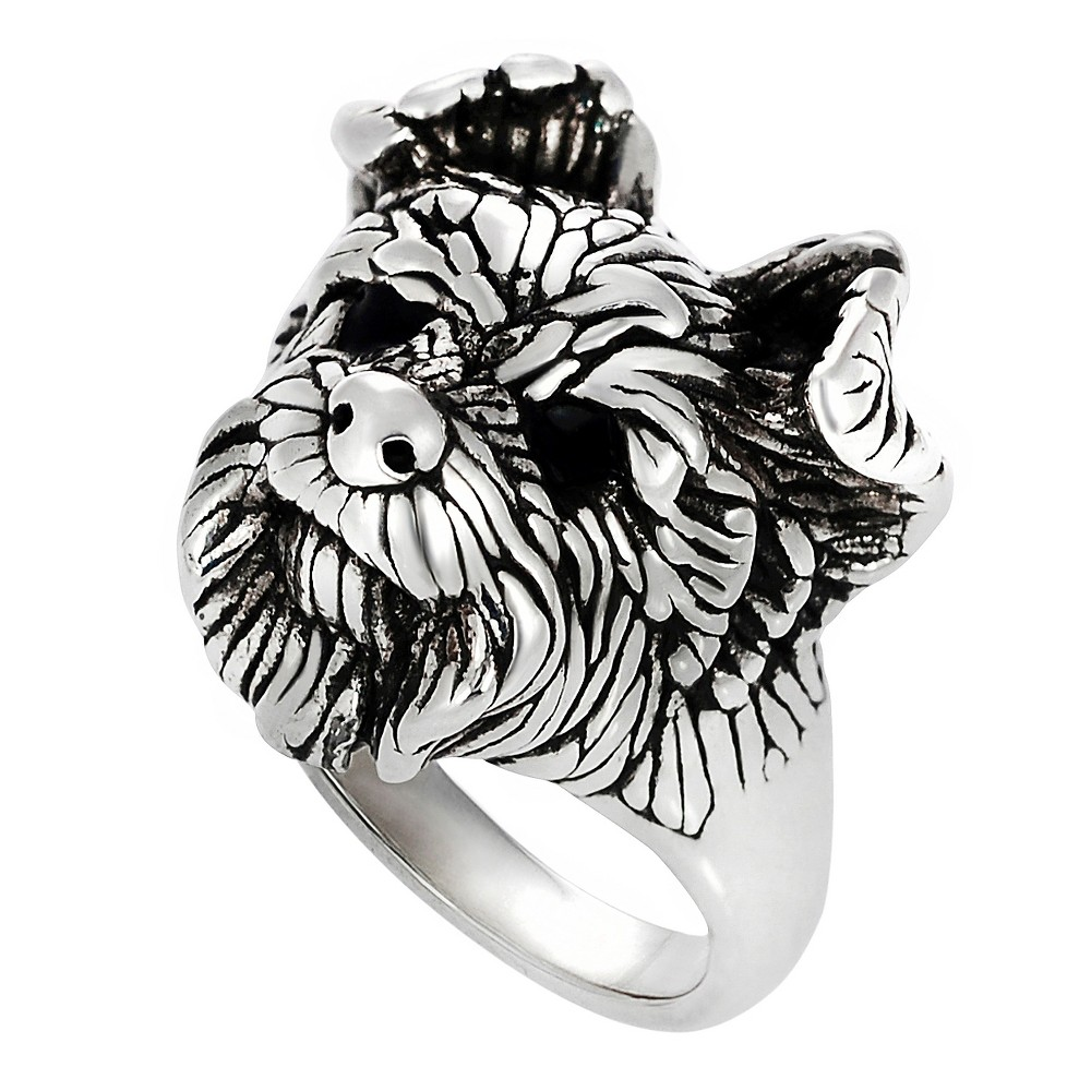 Women's Journee Collection Dog Face Ring in Sterling Silver - Silver, 5