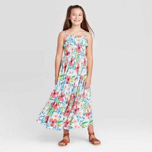 Girls' Floral Knit Maxi Dress - Cat & Jack™ White - image 1 of 3