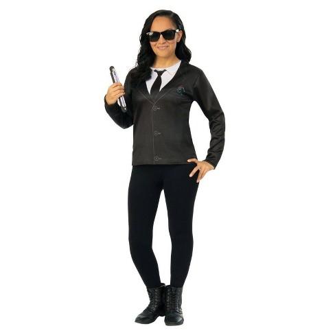 Womens Men In Black Agent Em Halloween Costume Top M
