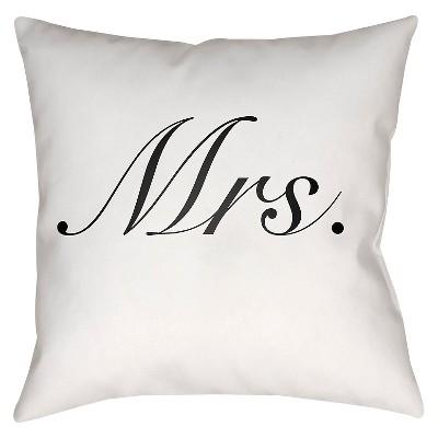 White Couple Mrs Throw Pillow 18 x18  - Surya