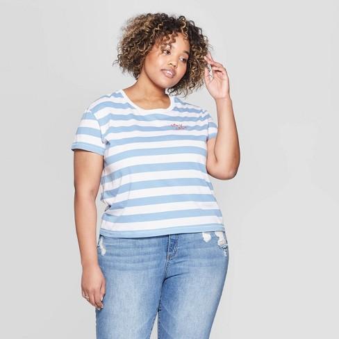 958269e311fc67 Women's Plus Size Striped Short Sleeve Crewneck Stay Chic T-Shirt - Fifth  Sun (Juniors') - White/Blue