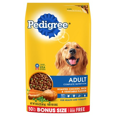 Pedigree Adult Complete Nutrition Roasted Chicken, Rice & Vegetable Flavor Dry Dog Food - 50 lbs