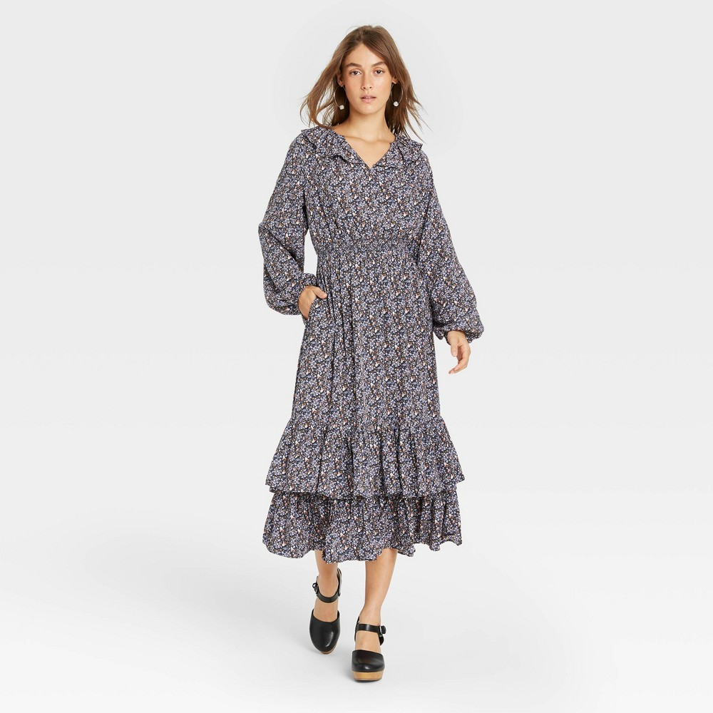 Cottagecore Clothing, Soft Aesthetic Womens Floral Print Balloon Long Sleeve Ruffle Collar Dress - Universal Thread Purple XXL $34.99 AT vintagedancer.com