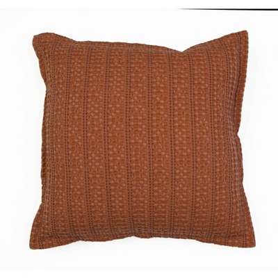 "20""x20"" Riley Washed Linen Flange Pillow Terra Cotta - Décor Therapy"