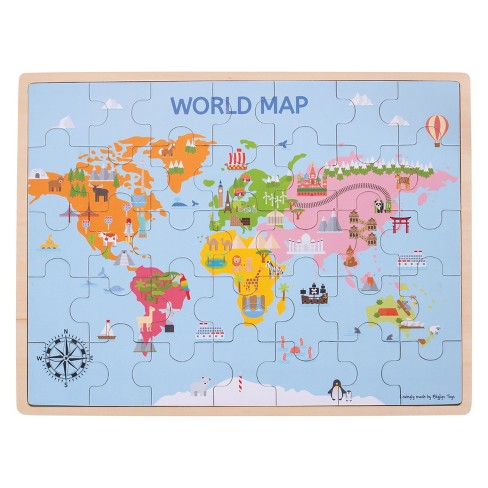 Bigjigs Toys World Map Puzzle 35pc : Target