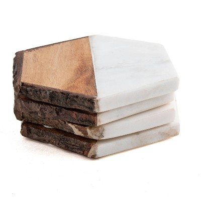 4pk Marble and Acacia Wood Hexagon Coasters - Thirstystone