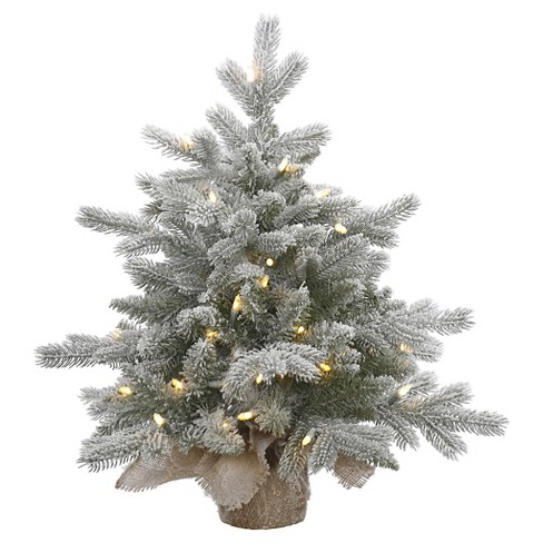 2ft Pre-Lit White Flocked Pine Artificial Christmas Tree With White LED  Lights : Target - 2ft Pre-Lit White Flocked Pine Artificial Christmas Tree With White
