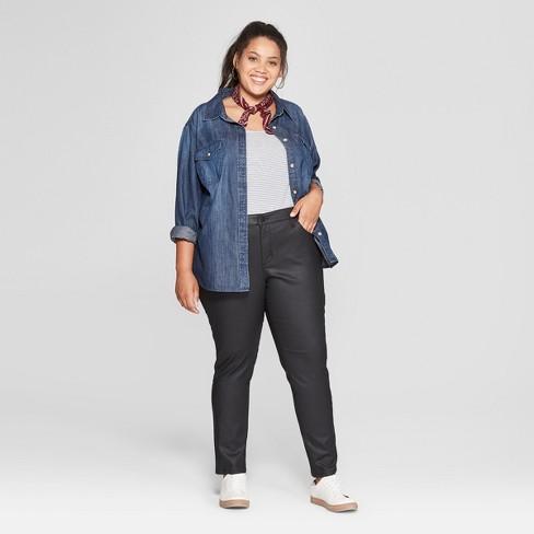 1c0d51932fd Women s Plus Size Coated Skinny Jeans - Universal Thread™ Black 14W   Target