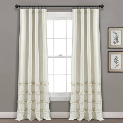 "Set of 2 95""x40"" Vintage Stripe Yarn Dyed Cotton Light Filtering Window Curtain Panels Beige/White - Lush Décor"