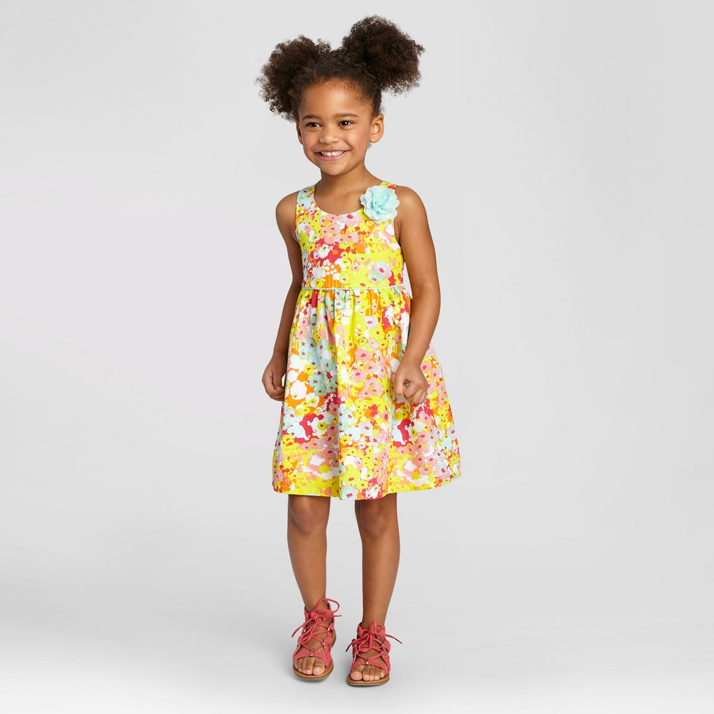 Penny M Toddler Girls' Bright Floral A Line Dress - 2T, Multi-Colored