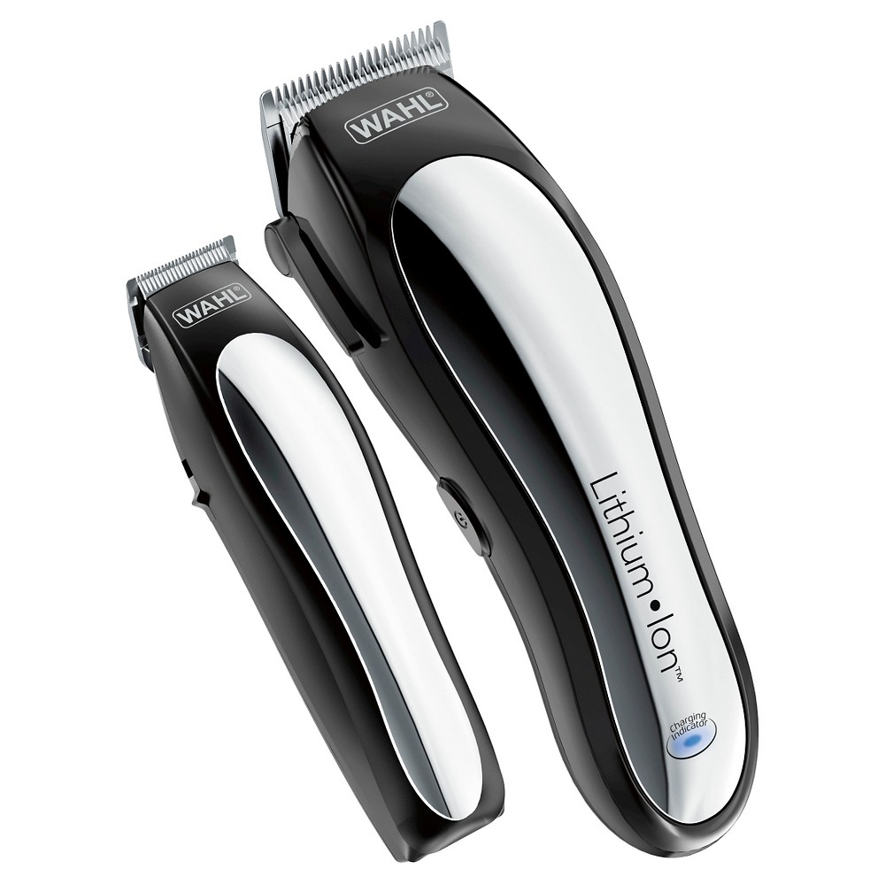 Wahl Lithium Ion Pro Men's Cordless Haircut Kit with Finishing Trimmer & Soft Storage Case-79600-3301, Blck/Grey