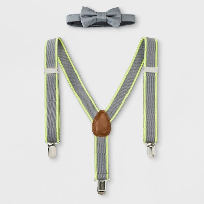 Baby Boys' Bowtie and Suspenders Set - Cloud Island™ Gray