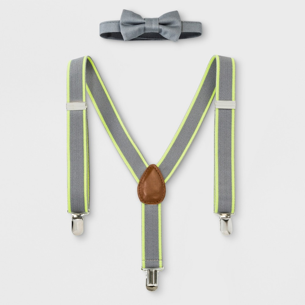 1930s Childrens Fashion: Girls, Boys, Toddler, Baby Costumes Baby Boys Bowtie and Suspenders Set - Cloud Island Gray Size Newborn $9.99 AT vintagedancer.com