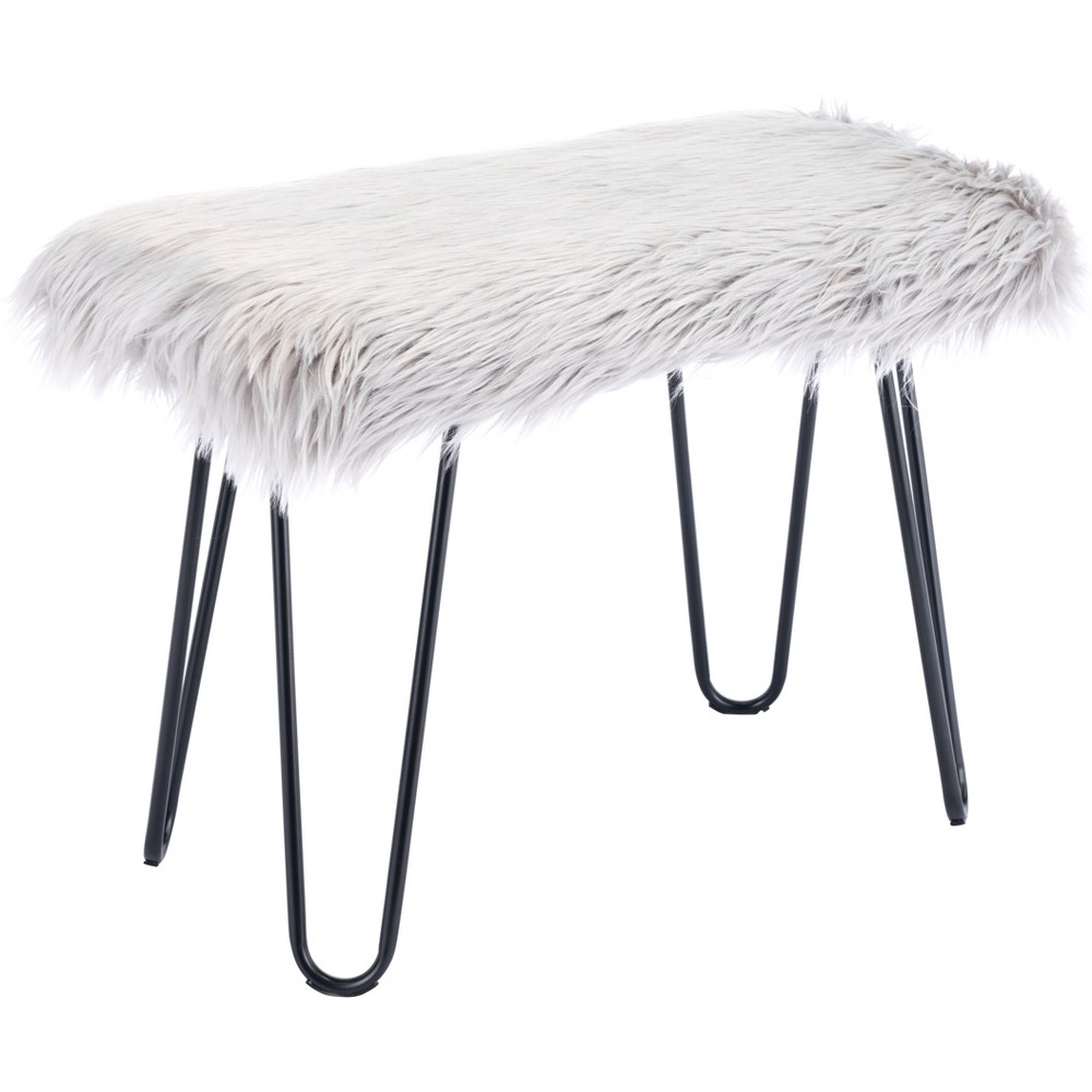 "Image of ""24"""" Modern Faux Fur Bench Gray - ZM Home"""