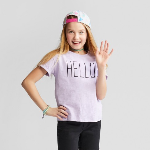 Girls' Hello Lace-Up Back Graphic Short Sleeve T-Shirt - Cat & Jack™ Purple - image 1 of 3