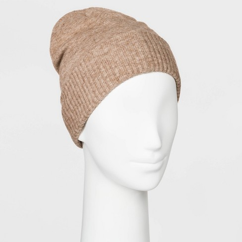 Women's Fine Gauge Knit Beanie - A New Day™ Light Camel One Size - image 1 of 1