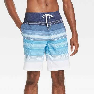 "Men's 10"" Striped Swim Trunks - Goodfellow & Co™ Atlantic Blue"