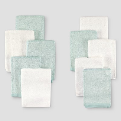Hudson Baby 10pk Rayon from Bamboo Washcloths - Teal/White One Size