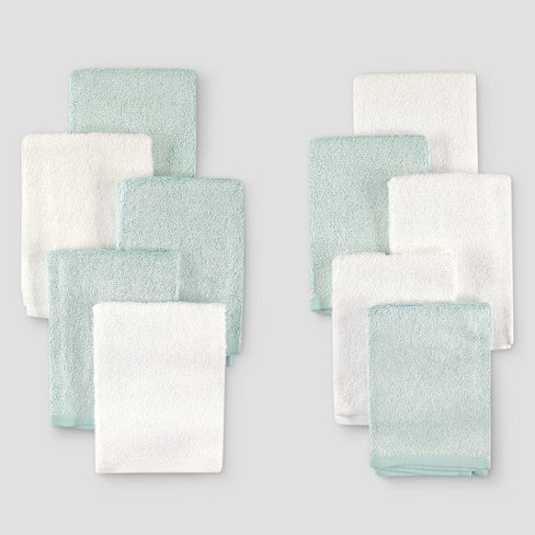 Hudson Baby 10pk Rayon from Bamboo Washcloths - Teal/White One Size - image 1 of 1