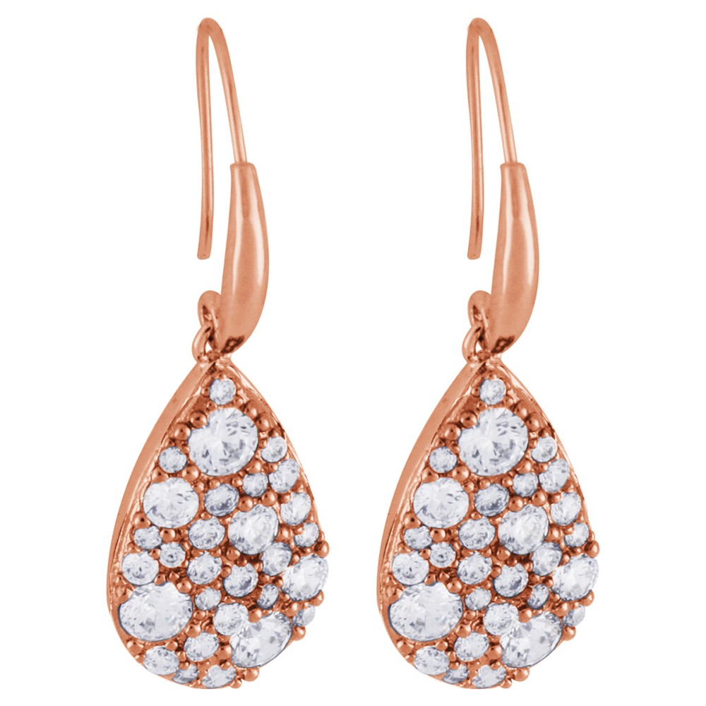 Image of 14k Rose Gold Plated Bronze Signity Clear CZ Earrings, Women's, Pink Clear