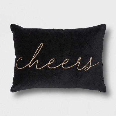 'Cheers' Velvet Lumbar Throw Pillow Black - Project 62™