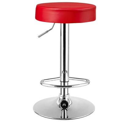 Costway 1 PC Round Bar Stool Adjustable Swivel Pub Chair U Leather with Footrest White\ Black\ Red