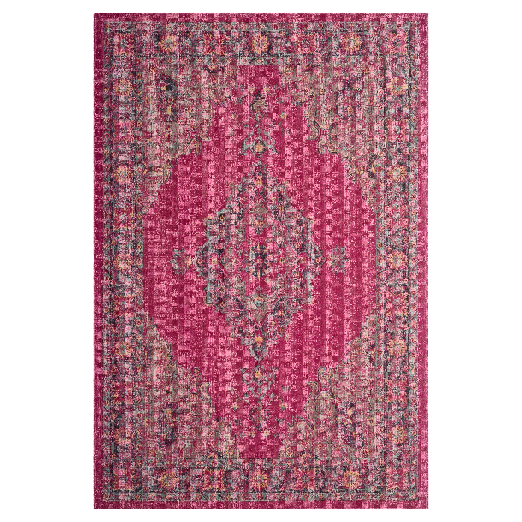 Fuchsia/Navy (Pink/Blue) Medallion Loomed Accent Rug 3'3