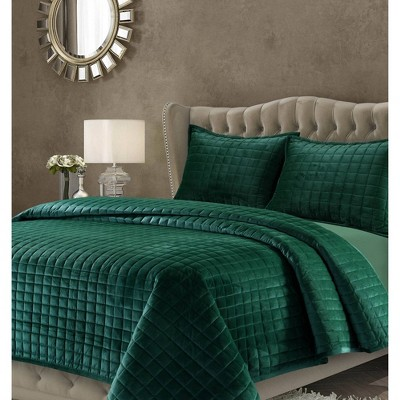 3pc Queen Florence Velvet Oversized Quilt Set Emerald Green - Tribeca Living