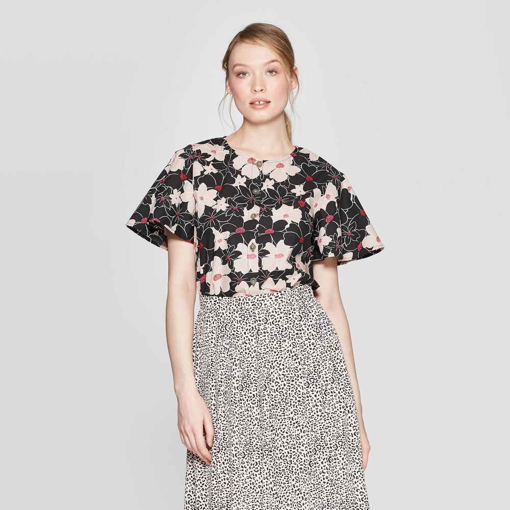 Low Price Women Floral Print Structured Short Sleeve Scoop Neck Top Who What Wear Black XS