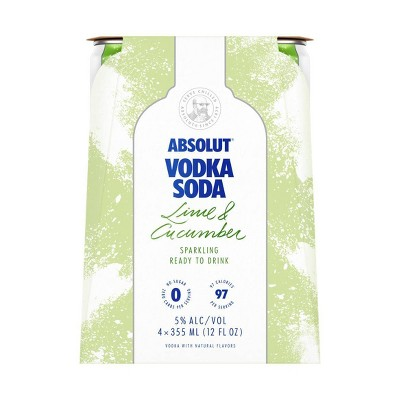 Absolut Lime & Cucumber Sparkling Vodka Soda - 4pk/355ml Cans