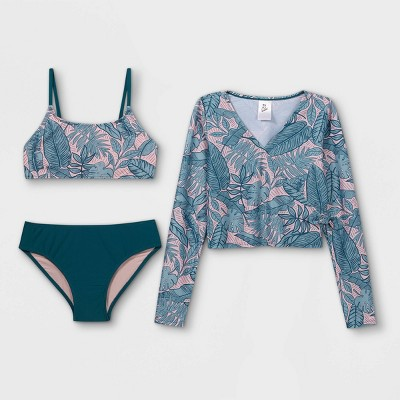 Girls' Palm Print Long Sleeve Cropped 3pc Bikini Set - art class™ Teal