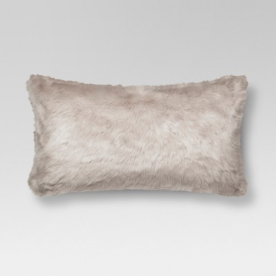 Light Gray Faux Fur Oversized Lumbar Throw Pillow - Threshold™
