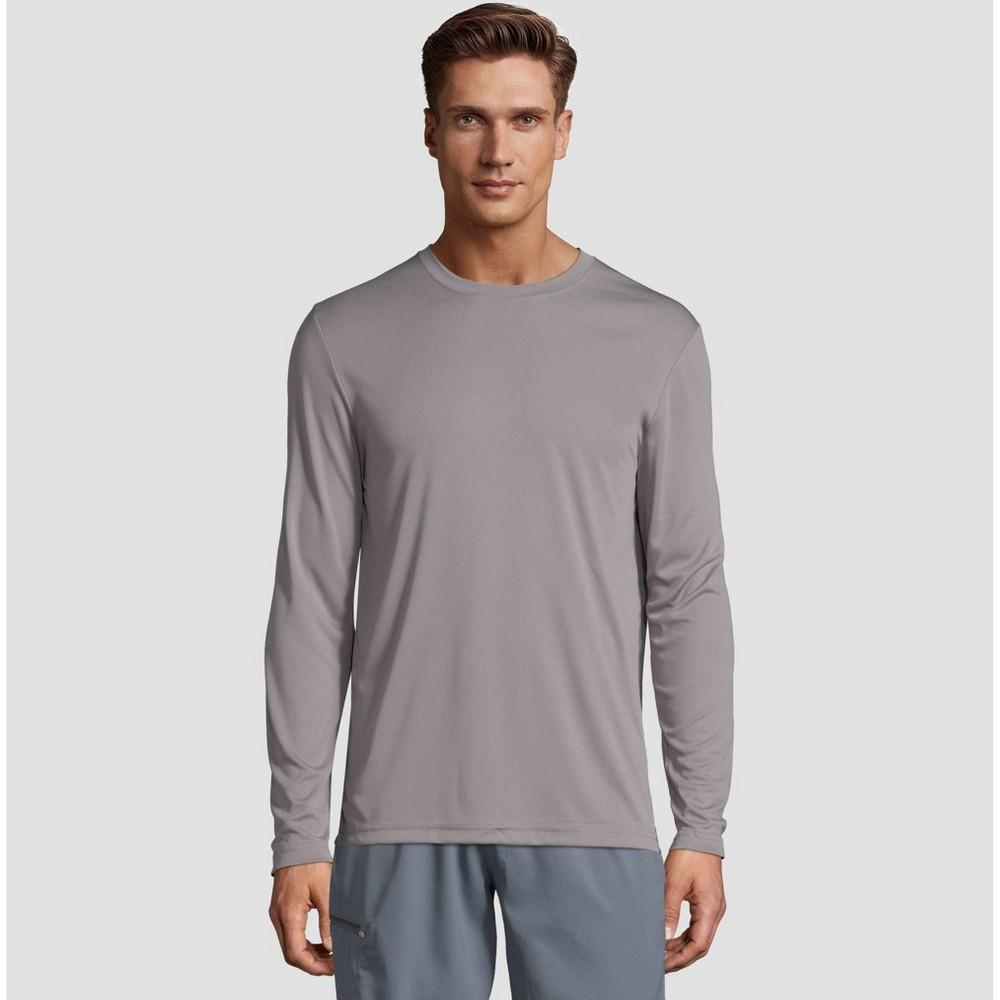 Hanes Men 39 S Big 38 Tall Long Sleeve Cooldri Performance T Shirt Gray 3xl